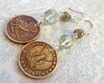 While on Vacation in Greece Owl Coin Earrings with Prehnite and Sterling Silver