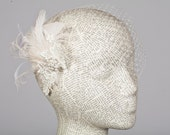 1920s inspired Birdcage Veil and Feather Fascinator
