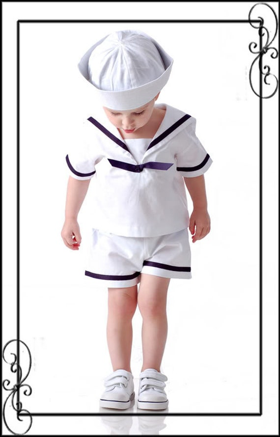 DM TBJ Boutique Baby Toddler Boys Custom Sailor Suit Set Nautical Classic Timeless 18 months, mo. m - 4-4T