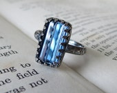 Sterling Silver Statement Ring Rectangle Montana Blue Crystal