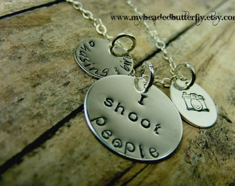 I shoot people-photographer necklace-Camera necklace handstamped sterling silver discs-personalized