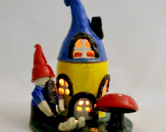 Colorful Ceramic Gnome, Fairy House with Gnome and Mushroom