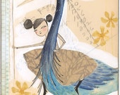 Cori Dantini print, blue and yellow, girl with heron,  limited edition and archival,, From here on out it's you and me ... 8 x 10 inches