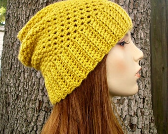 Mustard Yellow Slouchy Beanie Crochet Hat Womens Hat Yellow Hat - Yorkshire Slouchy Hat - Yellow Beanie Womens Accessories
