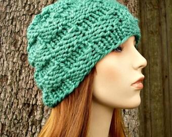 Spearmint Green Beanie Chunky Knit Hat Womens Hat - Basket Weave Beanie - Green Hat Green Knit Hat Womens Accessories Winter Hat