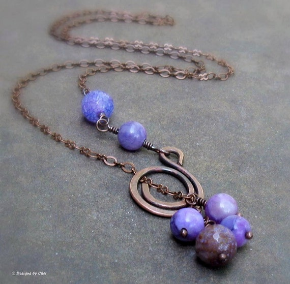 Purple Agate Antiqued Copper Lariat, Hammered Metalwork Spiral Adjustable Necklace