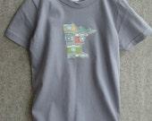 custom state toddler tee, asphalt grey, infant onesie, organic camera, minnesota MN