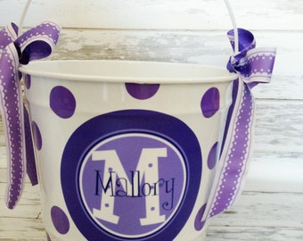 Personalized pail with purple and lavender design - home decor bucket - decorative pail - 10 quart bucket - monogrammed pail for kids