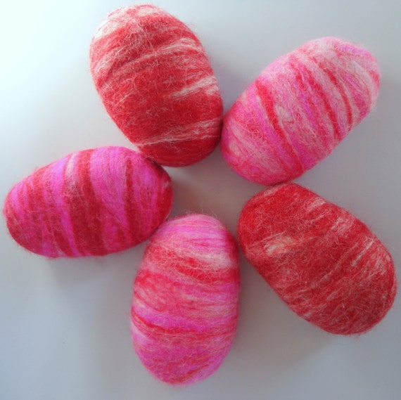 Felted Soap Unique Gift Valentines Day Colors Pink White Red Blends ONE BAR