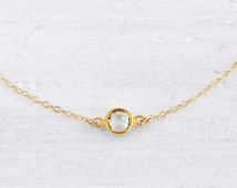 Solo clear necklace - small round crystal gem gold filled - simple everyday jewelry - edor