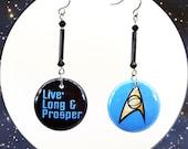 Live Long and Prosper Dangle Star Trek TOS Hook Pinback Button Earrings