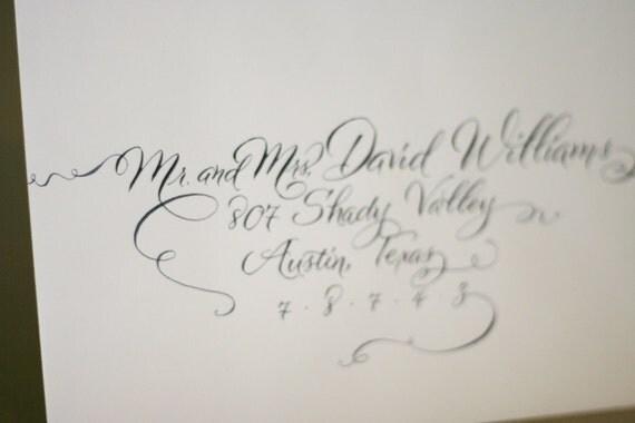 Wedding invitation calligraphy modern envelope by