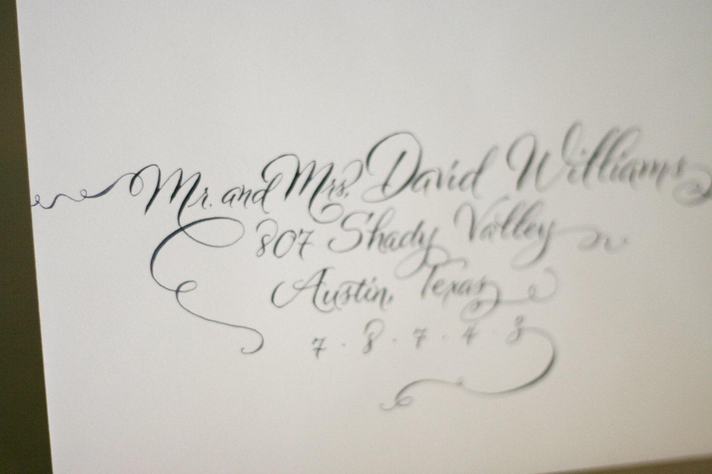 Wedding Invitation Calligraphy Modern Envelope Handwritten In