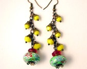 Chinese Lantern Earrings,Yellow Red Green, SALE, Very colorful, Whimsical, Carnival Jewelry, Chinatown, Asian Inspired Earring, Long Dangles
