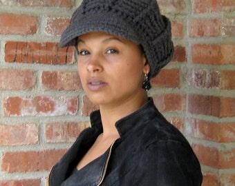 Newsboy hat, crochet cap, Custom Color Visor Tam Hat Newsboy billed slouchy beanie thick, woman newsboy hat, man newsboy beanie