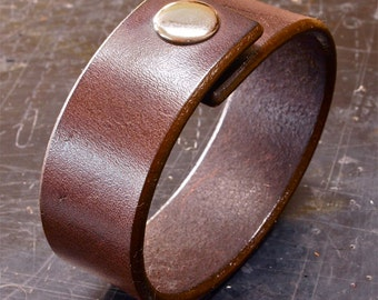 Brown Leather cuff wristband American bridle leather bracelet 1 inch wide slick edges Handmade for YOU in NYC by Freddie Matara