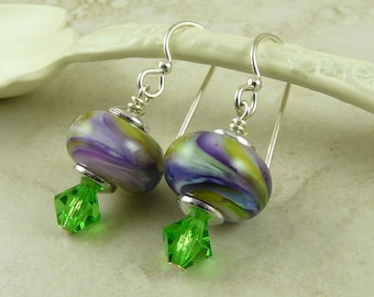 Hawaiian Tropics Lampwork Bead & Swarovski Crystal Earrings - Purple Green Lavender Peridot - Sterling Silver French Ear Wires