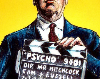 "Print 11x17"" - Alfred Hitchcock - Psycho Vintage Director Cinema Noir Suspense Horror Classic Norman Bates Serial Killer Dark"