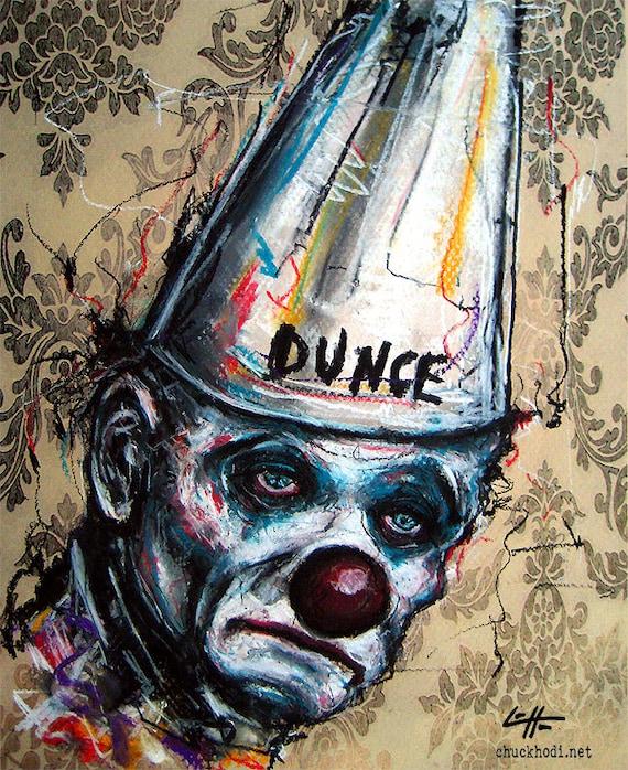 Sad Clown Original Drawing Dunce Cap Tears Crying Lowbrow