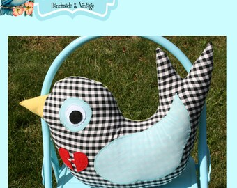 Instant Download The Half 1/2 Yard Sparrow and Wren Plush Pillow Sewing Pattern New by Little Bird Lane