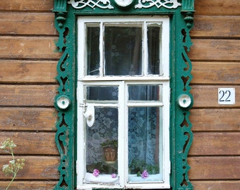 Decorative Russian Window. Folk art. Woodwork. Dacha, cabin. Ancient architecture. photography. Fairytale. Russia.