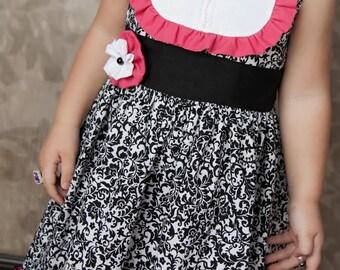 Tuxedo Bib Dress Pattern for Girls - Party Dress Sewing Pattern - Instant Download