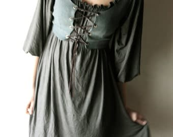 Corset Vest - Medieval bodice - steampunk layering top in cotton with leather cord - LARP costume