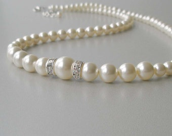 Elegant Ivory Pearl Bridal Necklace, Pearl and Crystal Strand, Bridesmaid Jewelry, Wedding Party Gift, Swarovski, Cream Pearl Necklace