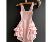 Ruffled Bubble Suit for a little Girl - Approximately Size 12 to 18 Months - Pretty Pink - JustSmashingDarling