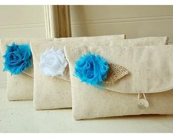 Bridesmaid Gift  -ONE BAG FREE-  Bridesmaid Clutch Purse Rustic wedding  Burlap Linen Set of 12 Bridesmaid  Personalize gift cosmetic bag