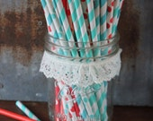 Red Aqua Straws, Christmas Theme, Winter Party, Dr Suess, Paper Straws, Circus Birthday, Cat in the Hat, Red Baby Shower, Blue Wedding,  Dot