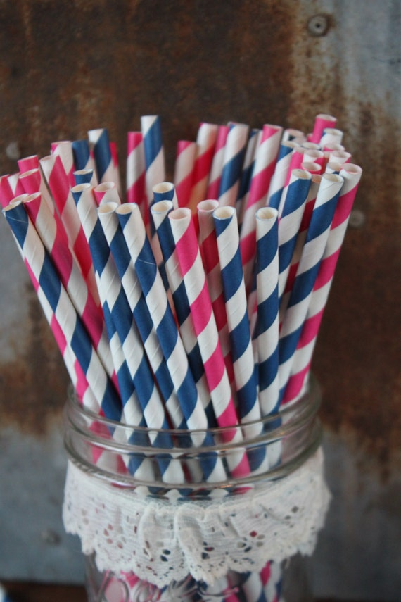 Navy and Hot Pink Paper Straws -- Set of 20  -- stripes and dots
