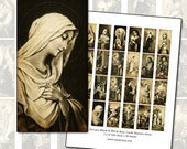 Antique Spanish Black and White Holy Card domino digital collage sheet  25 mm x 50 mm
