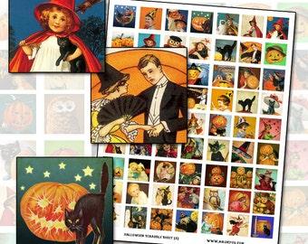 Antique Victorian Halloween inchies tile digital collage sheet 25.4mm 25x25 1x1 owl pumpkin jack o'lantern witch orange and black