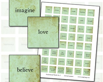 Inspirational Words I in aqua inchies digital collage sheet for decoupage jewelry 25mm hope dream create art inspiration
