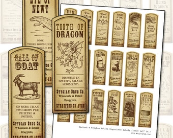 Macbeth Witch Potion Ingredients Labels digital collage sheet for all of your potion labeling needs 1x3 sepia antique