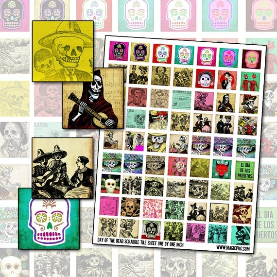 Day of the Dead inchies digital collage sheet for jewelry decoupage 25.4mm 1x1 square Mexico Día de los Muertos All Souls Day