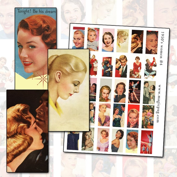 1950's Women IV Digital Collage Sheet for Domino Jewelry Mixed Media Altered Art Digital Collage 50's Ladies 1x2 inch 25mm x 50mm