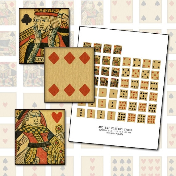 Antique Playing Cards Scrabble sized digital collage sheet .75 x .83 in 19mm x 21mm