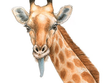 Giraffe painting - ORIGINAL Art Watercolour, Pen and Ink - 8x10 inches (20x25cm) - funny animal picture, african safari decor, kids room art