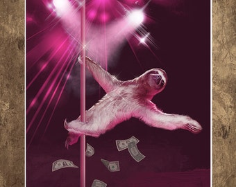 Wall Art, Sloth, Stripper Sloth, 18 x 24 Art Print
