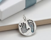Baby Handprint and Footprint Round Silver Charm, baby footprint jewellery, silver handprint charm, new mum, mother's day, baby keepsake