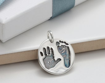 Personalised Handprint and Footprint Round Silver Charm - New Baby Keepsake, Mother's day gift, Mummy Jewellery