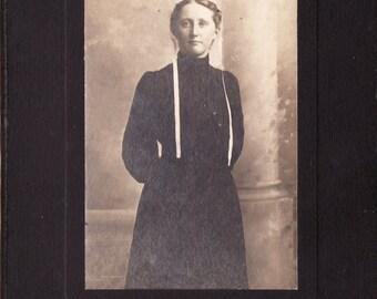Antique Studio Photo of Woman Wearing White Bonnet