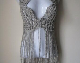 Crochet vest, FESTIVAL VEST, Fringe vest, Elongated ...