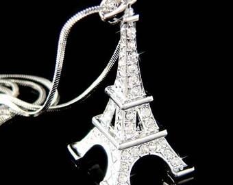 Swarovski Crystal 3D Eiffel Tower Paris France Honeymoon Jewelry Charm Pendant Necklace Jewelry Best Friend Vactaion New Anniversary Gift