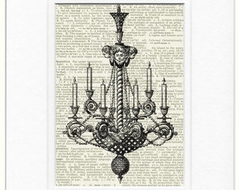chandelier III dictionary page print