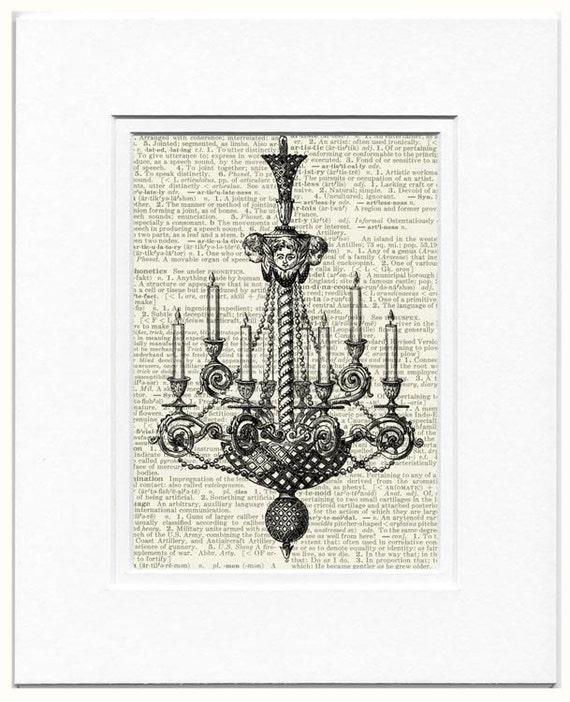 chandelier III dictionary page print