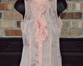 The Limited Womens Blouse Pink Button Down Ruffle Sleeveless Sheer Top Size XS