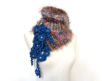 Knit Chunky Scarf, Faux Fur Crochet Neckwarmer / Scarflette, Beige Blue Brown and Pink - MUSKY FOX